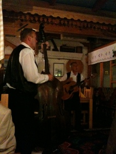 Live folk music is common in restaurants - a family group couldn't resist dancing along to these guys.  They played one of the songs on my Rough Guide to the Balkans CD and later sang along to it from my ipod - beautiful!