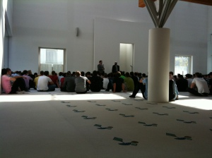 One of our group addressed the young people after lunch-time prayers