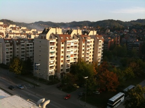 The view from my Tuzla hotel room - socialist architecture from Tito's time, but well maintained and good quality.