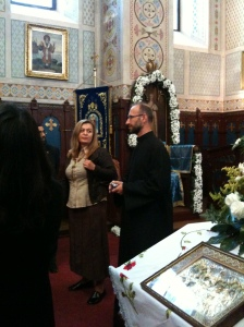 Inside the church, Nico telling us about its history, interpreted by Alenka on the left.  Different churches have different traditions and in the orthodox tradition only Christian priests are allowed behind the screen at head of the church.  Some discussion about this within our group, including the recent incident of Jim Fitzpatrick MP and his wife walking out of a Muslim wedding reception because men and women celebrated in different parts of the building.  When in Rome . . . or stick to your principles?  The symbolism of the building itself (eg some parts set aside for particular activities, paintings for teaching the congregation) seems more prominent in churches, whereas behavioural symbolism (eg filling up the rows of prayer so that worshippers are close together, not walking in front of someone who is praying) seems more important in mosques. Put me right on this huge over-generalisation by posting a comment!