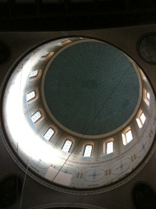 Inside the dome of Nico's church.  Daniel (a Muslim member of our group) saw this on my mobile later and remarked that at first glance it looked like the Islamic symbolic crescent.