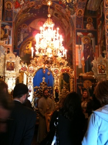 Inside the Serbian Orthodox church at Bijeljina which is in the Republika Srpska entity of Bosnia.