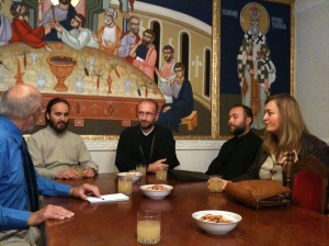 Pop Nico in the centre, flanked by the director of a church project supporting children with disabilities and their families (left) and the Serbian Orthodox priest of Srebenica (right).  Earlier in the week we had listened to Bosniacs who had lost members of their close family in the Srebenica massacre.  People from all three main communities lost friends and family in the three-way war as a result of armed combat.  More difficult was the unresolved issue of those from all sides who had broken the Geneva Convention and whether any of the religious authorities had a responsibility to pursue justice on this.  One of our group was involved in the Truth and Reconciliation Commission in South Africa and others of us are involved in mediation and peace-building here in the UK.  When there are competing narratives of victimisation (a mention of one illegal war incident can be countered by another, involving the alleged victims of the first as alleged perpetrators)