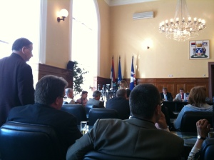 Leslie Griffiths, one of our group, addressing the Mayor of Bijeljina.