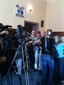 Local TV interest was strong - Paul and Junuz facing the press after our meeting with the Mayor of Bijeljina.