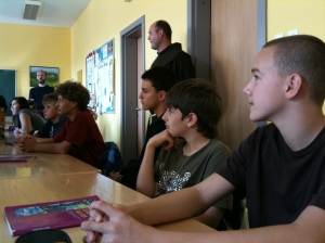 Children at the Catholic high school in Tuzla, which accepts children from all communities (currently 30% are Muslims).  Our UK group had different views on the two schools we visited, although this high school and the madrassa were not strictly comparable (the latter being partly a theological college for future religious leaders).  This school was certainly a lot more noisy than the madrassa!  Fra Zdravko, the Prior of the Friary, is standing behind the children.  He had a very relaxed manner with them.  It is easier to say Bosnian names than to read them!