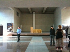 Non-confessional space in central Sarajevo for everyone to use as a place to pray or contemplate.  It isn't finished yet, but it being used.  Built and hosted by the Franciscans, I was interested in the language used, which reminded me of Bonhoeffer's German Confessing Church which opposed the Nazis.