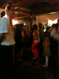 Our last night in Sarajevo - women dancing to the folk musicians in the restaurant, the one leading the line used a paper napkin which reminded me of Greek line dancing.