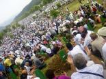 Mourning the dead from 1995 at Srebrenica yesterday