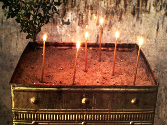 A commercial card from the folk who helped us get visas into Libya in 2006 - candles at a C10th church in Uplistsikhe, Georgia.  I would love to visit Georgia and to hear the strong sacred chanting and singing in the churches there.