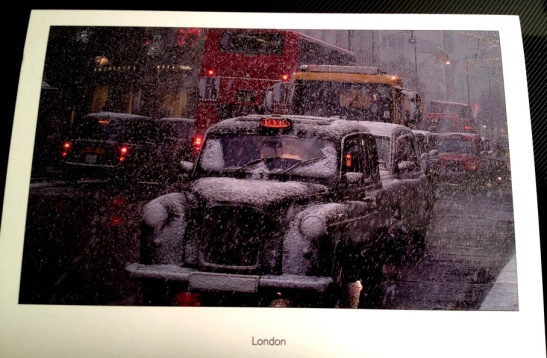 London taxi in the snow from one of my husband's colleagues.