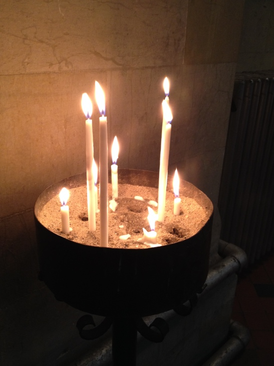 A sure sign that you're heading east - slim candles in sand, rather than tealights on a stand.  These were at the Anglican church - warm welcome from the priest and congregation.