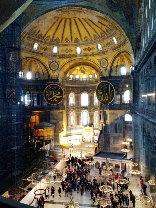 Now that Haghia Sophia is a museum, people wander around on foot, their voices absorbed by the huge space, which is much like it must have been when it was built in the C6th.