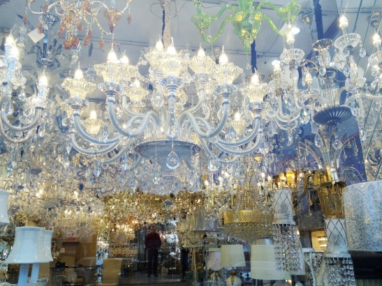 Lighting shop (Istanbul is full of chandeliers), with shopkeeper in the background.