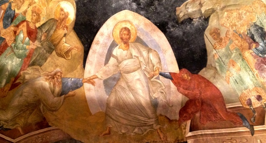 Unusually active & muscular Christ, pulling Adam and Eve from their graves - a fresco in a stunning Byzantine church (now a museum) in Chora, Istanbul.