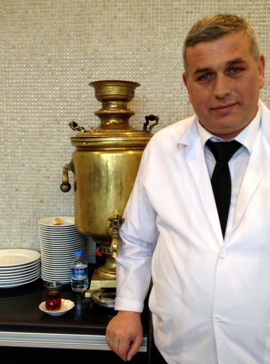 Samovar in a lokanta (swift service lunchtime restaurant) on the Asian side of Istanbul.  Hot salep was also served from samovars on the street at night.  The other place I've noticed samovars is in Iran.