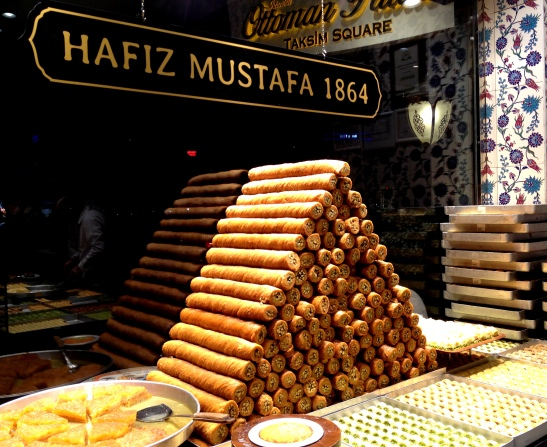 Display of sweetmeats at Hafiz Mustafa cafe.