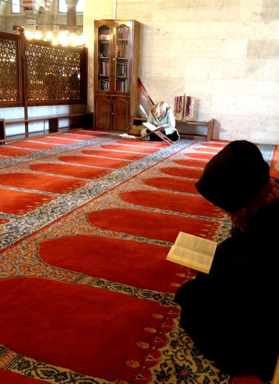 Studying in the women's part of the Suleymaniye Mosque.