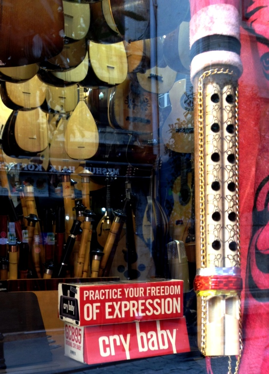 Wah-wah packaging in a music shop - 'practice your freedom of expression'.